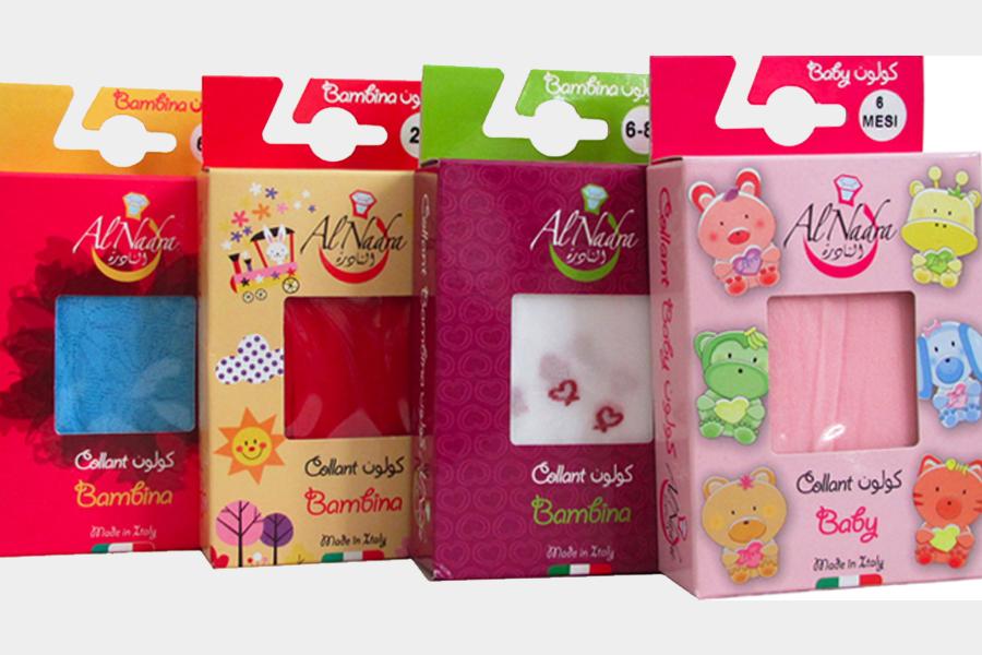progettazione della nuova linea di scatole per calze Al Nadra